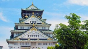 Osaka castle, the popular sight seeing spot in Osaka, Japan