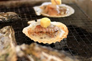 grilled scallop, Kuromon Ichiba, Market, popular food, Osaka