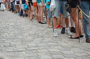 making a line. waiting in a line