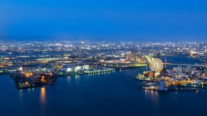 Tempozan Harbor village, Osaka bay, Osaka port, Kaiyukan, USJ, Osaka,Japan, night view