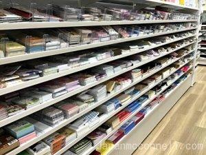 note pads, shelf, seria, 100 yen shop, japan