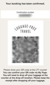 QR code for luggage free travel