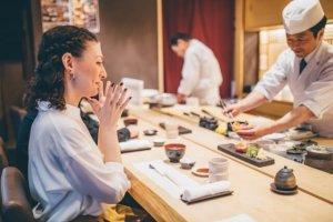 sushi, counter table, women