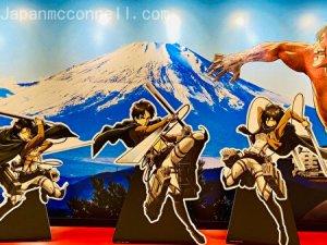 attack on titan, wall picture, mt fuji, narita anime road
