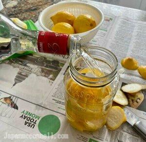pour vodka into the jar
