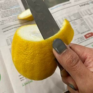 remove lemon peel, knif