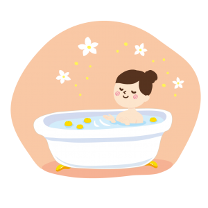 taking bath, yuzu