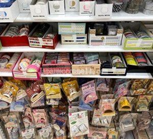 washi tape, shelf, 100 yen shop, cando