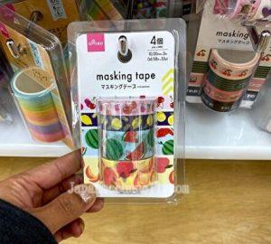 washi tapes, fruits, 100 yen shop