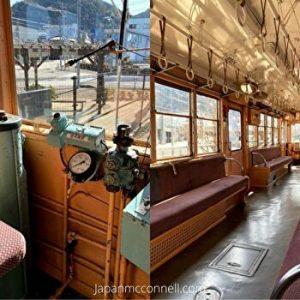 The inside design of old model tram, Mino, Gifu, Japan