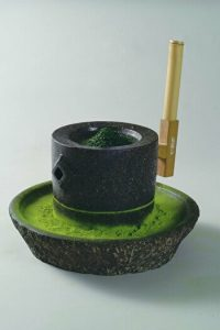 The stone grinder for Japanese Matcha green tea, Aiya, Nishio, Aichi, Japan