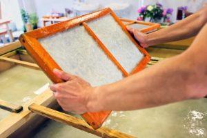 handmade washi paper, craftman, Japanese tradition, traditional way, paper making
