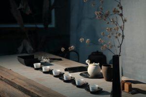 tea time, teapot, tea cup, oriental, table, flower
