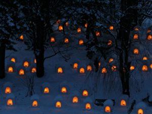 Hirosaki castle lantern festival, Aomori, Tohoku, Winter, Japan