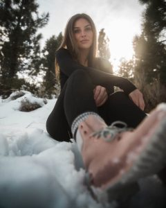 Winter boots, a woman, snow, winter