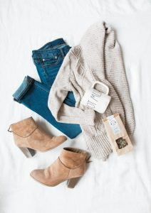 fashion, women, denim pants, a knit sweater, a coffee mug, a coffee beans, winter casual boots
