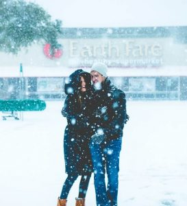 winter, snow, couple, woman and man, winter jacket