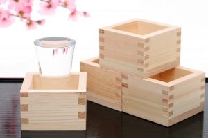 Masu sake cups, wooden masu cups, a small glass in the masu cup, Japanese, Sake,