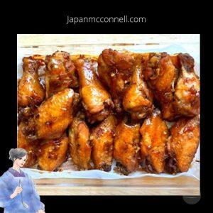 tebasaki amakara yaki, grilled chicken wings in Japanese style, Japanese food, Japanese home cooking recipe, sweet and spicy grilled chicken wings